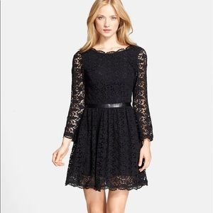 Baronessa' Leather Detail Lace Fit & Flare Dress